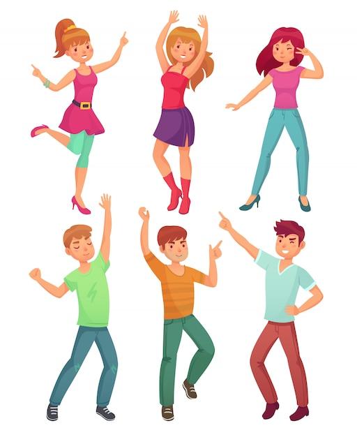 Cartoon people dance Premium Vector