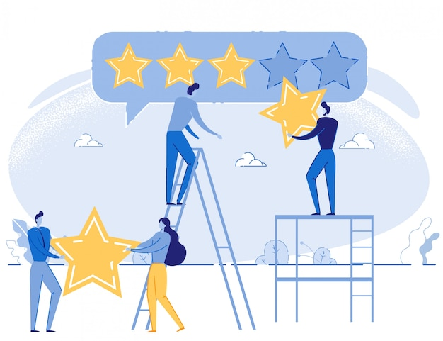 Cartoon people giving five star positive rating Premium Vector