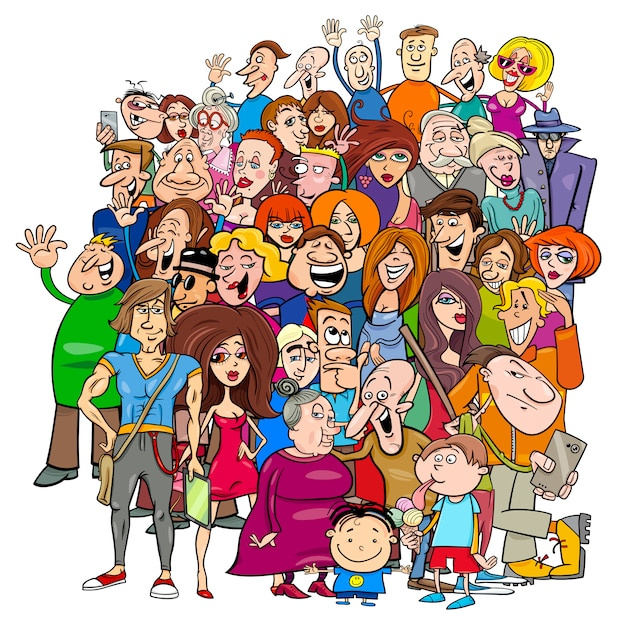 Cartoon people group in the crowd Vector | Premium Download