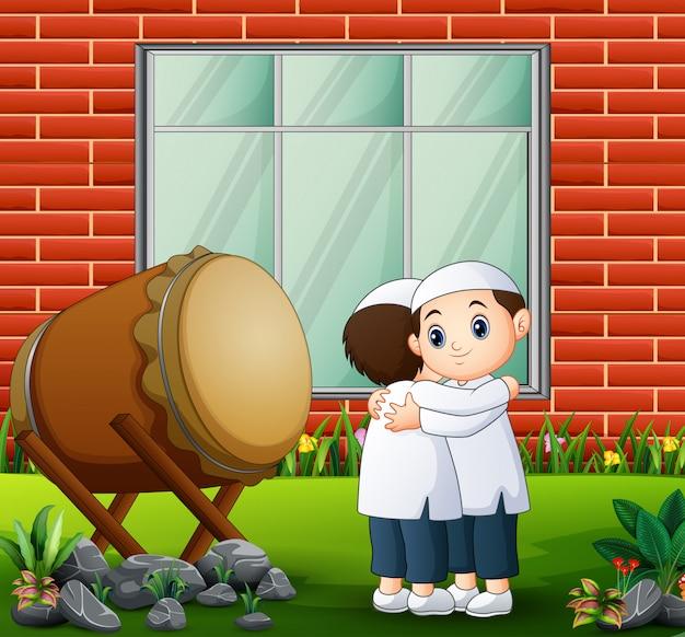 Cartoon people hugging and wishing eid mubarak Premium Vector