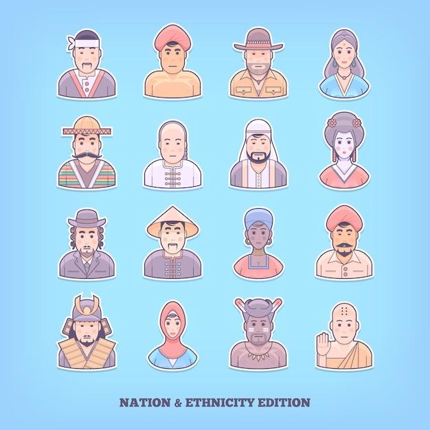 漫画の人のアイコン。国家、人種、民族の要素。概念図。 Premiumベクター
