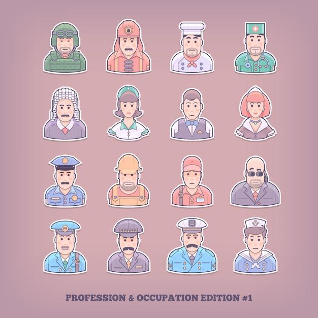 漫画の人のアイコン。職業と職業の要素。概念図。 Premiumベクター