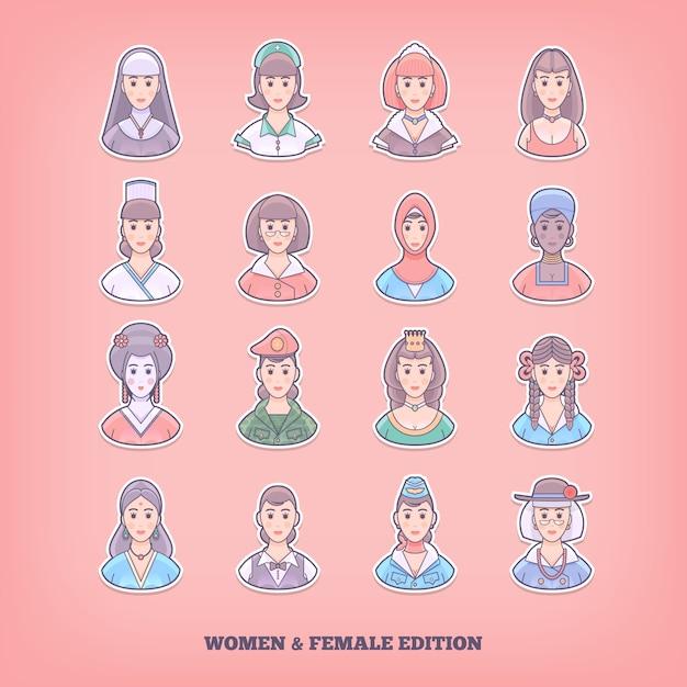 漫画の人のアイコン。女性、女の子、女性の要素。概念図。 Premiumベクター