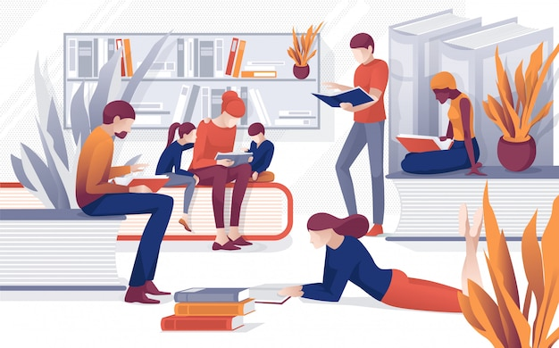 Cartoon people read books family reading bookstore Premium Vector