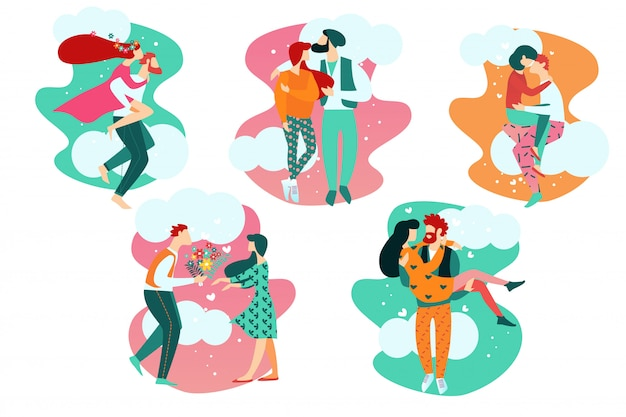Cartoon people in romantic love relationships Premium Vector