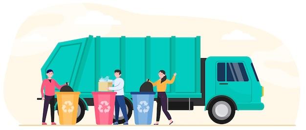 Мультяшные люди выбрасывают мусор и мусор Бесплатные векторы