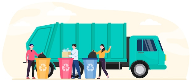 Cartoon people throwing out rubbish and trash Free Vector