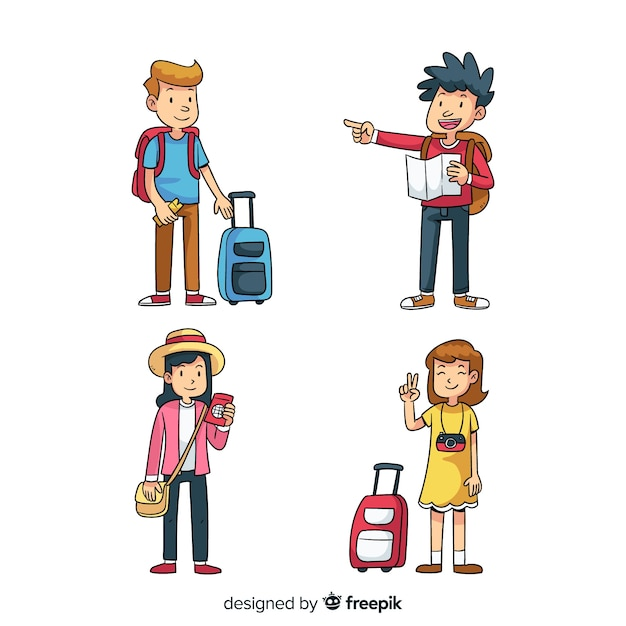 Cartoon people traveling collection Free Vector