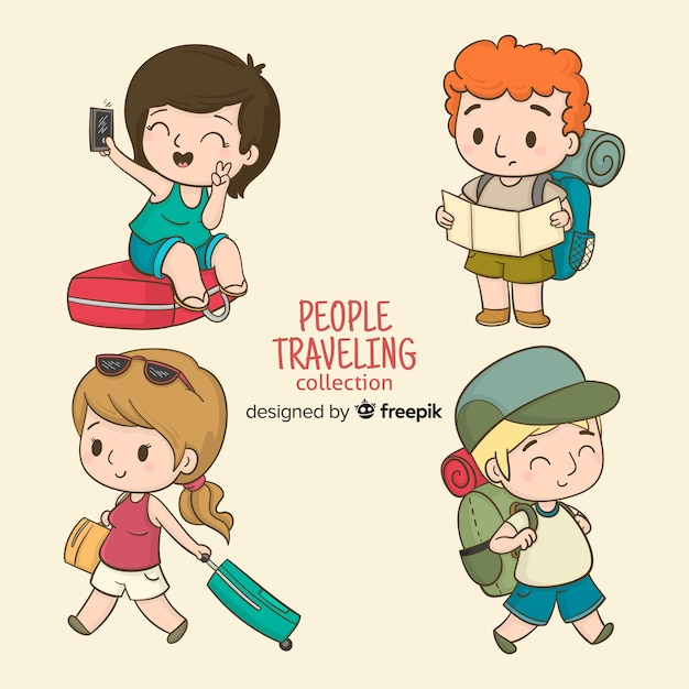 Cartoon people travelling set Free Vector