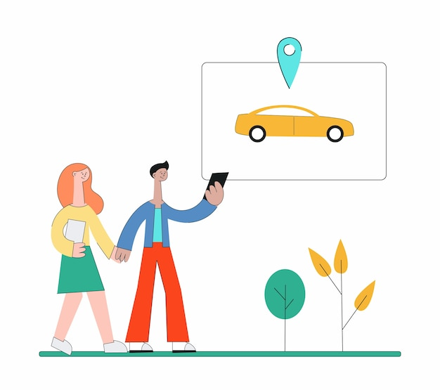 Cartoon people using carsharing app and walking to find car - young couple in the park holding phone and searching yellow taxi cab.    illustration. Premium Vector