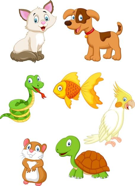 Cartoon pet collection set Premium Vector