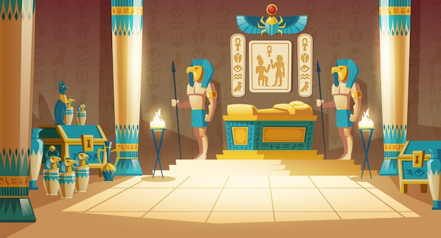 cartoon pharaoh tomb with golden sarcophagus, statues of gods with animal heads, columns Free Vector