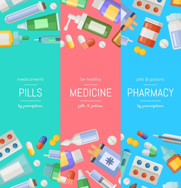 Cartoon pharmacy or medicines vertical banner templates. Premium Vector