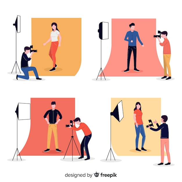 Cartoon photographer character working Free Vector
