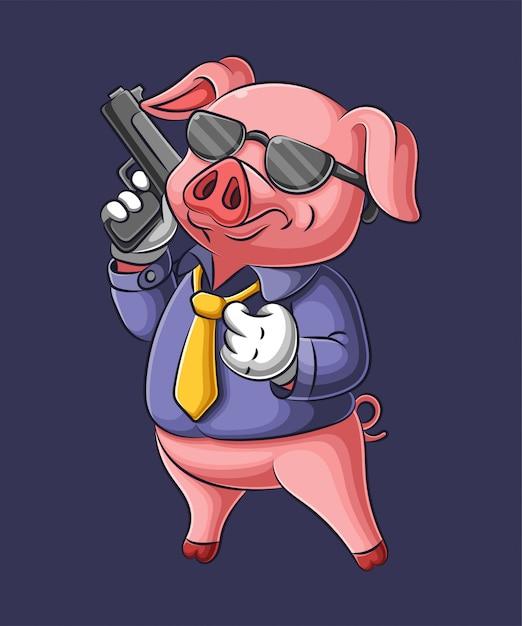 マフィアの服で銃を保持している漫画のブタ Premiumベクター
