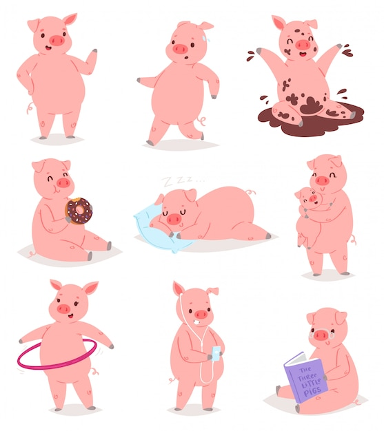Premium Vector Cartoon Pig Piglet Or Piggy Character And Pink Piggy Wiggy Playing In Puddle Illustration Piggish Set Of Piggery Mom Hugging Pigling Baby On White Background