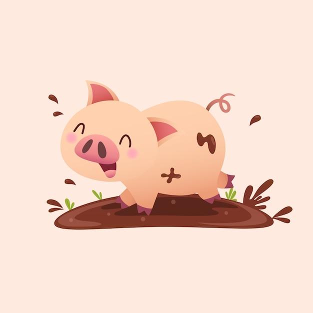 泥で遊ぶ漫画の豚。 Premiumベクター