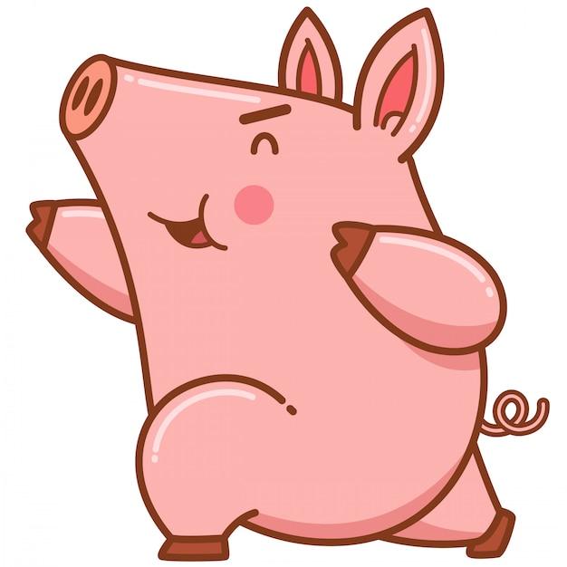 Cartoon pig Premium Vector