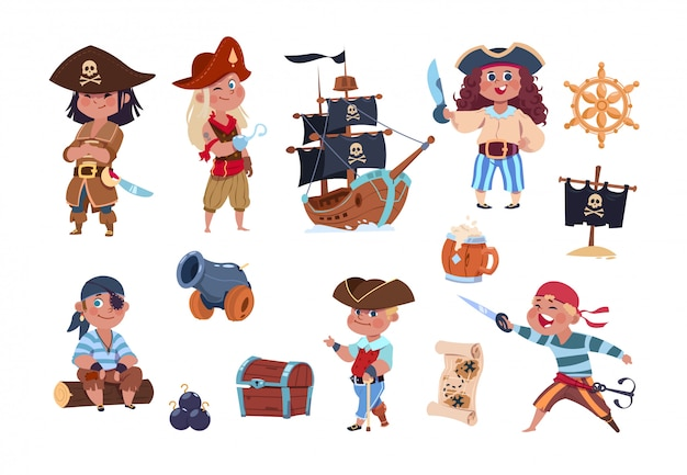 Cartoon pirates funny pirate captain and sailor characters, ship treasure map collection Premium Vector