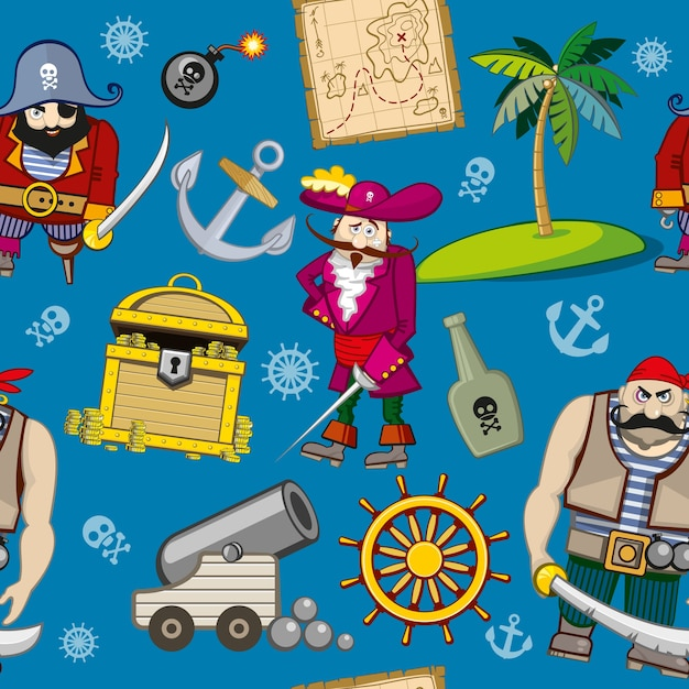Reticolo senza giunte dei pirati del fumetto. ancora e palmo, gancio e tesoro, volante e bomba Vettore gratuito