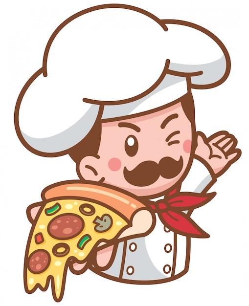 Cartoon pizza chef presenting food Premium Vector