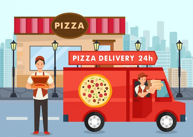 Cartoon pizza courier on truck carries pizza order Premium Vector