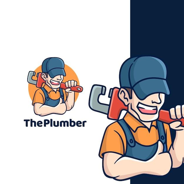 漫画の配管工のロゴ Premiumベクター