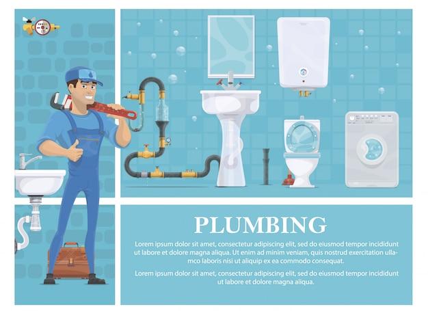 Composizione dell'impianto idraulico del fumetto con l'idraulico in uniforme che tiene la chiave inglese tubo lavatrice specchio riscaldamento caldaia wc lavandino cassetta degli attrezzi fognatura Vettore gratuito
