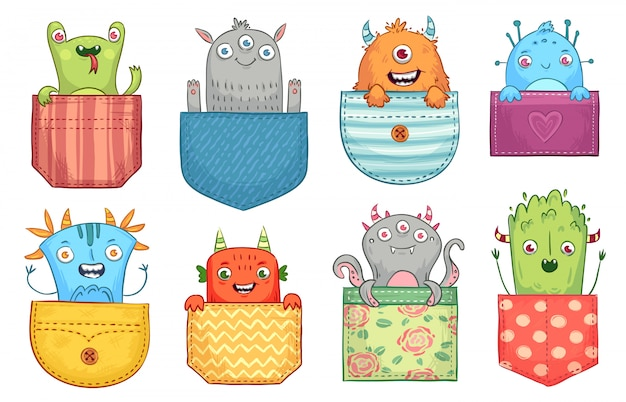 Cartoon pocket monster. funny monsters in pockets, scary halloween creatures and little boo monster  illustration set Premium Vector