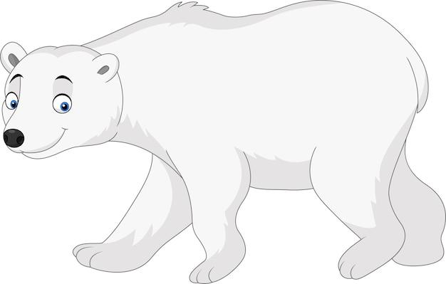 Cartoon polar bear isolated on white background Premium Vector
