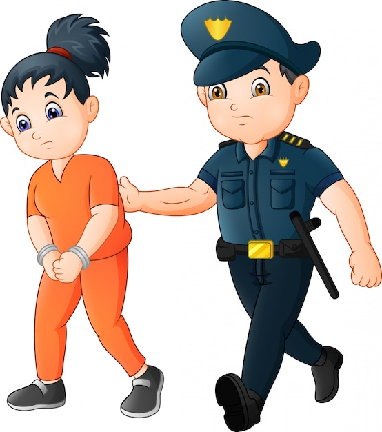 Cartoon police officer with a prisoner Premium Vector