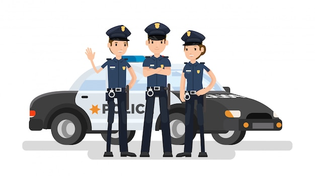 Cartoon of police officers group with the car behind Premium Vector