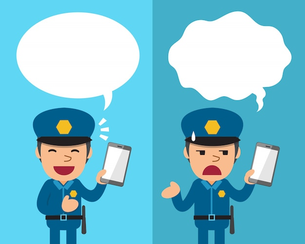 Cartoon policeman with smartphone expressing different emotions with speech bubbles Premium Vector