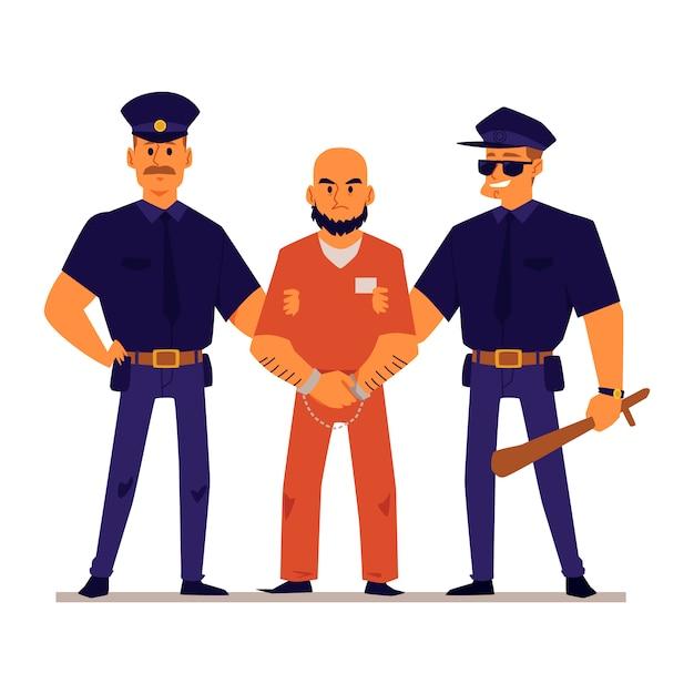 オレンジ色の刑務所の制服を着た手錠をかけられた犯罪者を保持している漫画の警官 Premiumベクター
