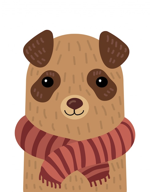 Cartoon portrait of a dog in a scarf.  illustration of an animal for a postcard. Premium Vector