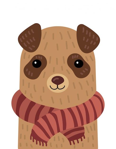 Мультфильм портрет собаки в шарфе. иллюстрация животного для открытки. Premium векторы