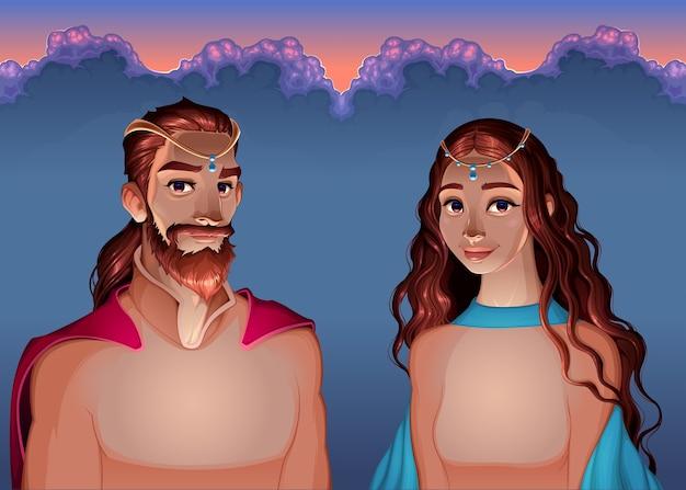 Мультяшный портрет короля и королевы. Бесплатные векторы