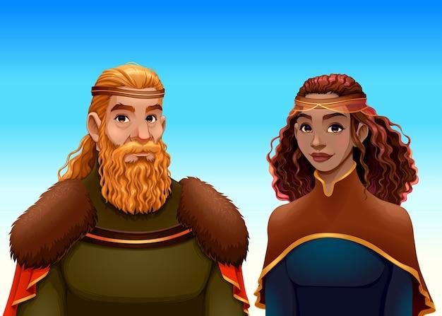 王と女王の漫画の肖像画。 無料ベクター
