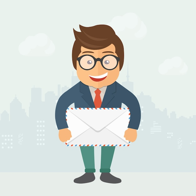 Cartoon postman holding envelope Free Vector