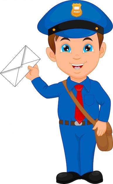 Cartoon postman holding a mail Premium Vector