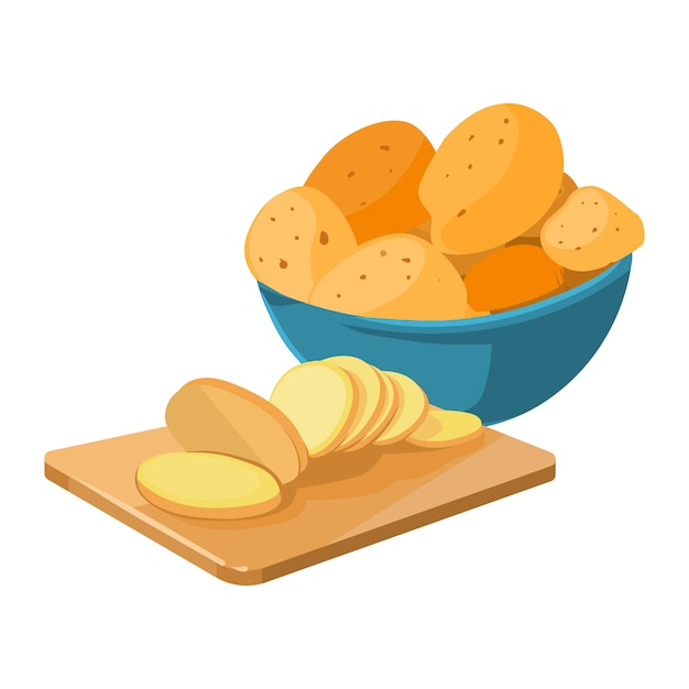 Cartoon potato bowl cutting board with potato Premium Vector