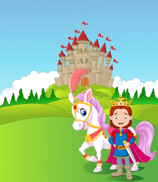 Cartoon prince and royal horse Premium Vector