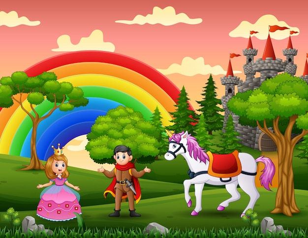 Cartoon princess and prince in the castle yard Premium Vector