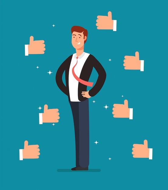 ビジネスマンの手を多くの親指を持つ漫画誇りに思っている従業員 Premiumベクター