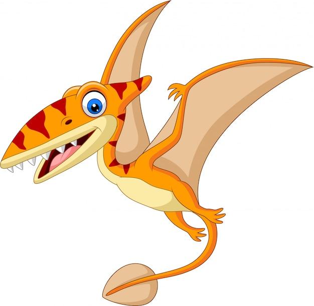 Cartoon pterosaurus isolated on white Premium Vector