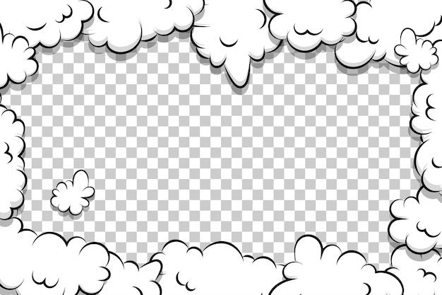 テキストの漫画パフクラウドテンプレート漫画本漫画フレーム Premiumベクター