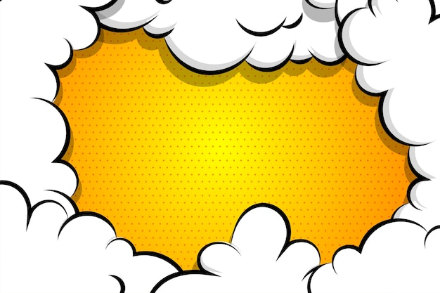Cartoon puff cloud yellow background for text template Premium Vector