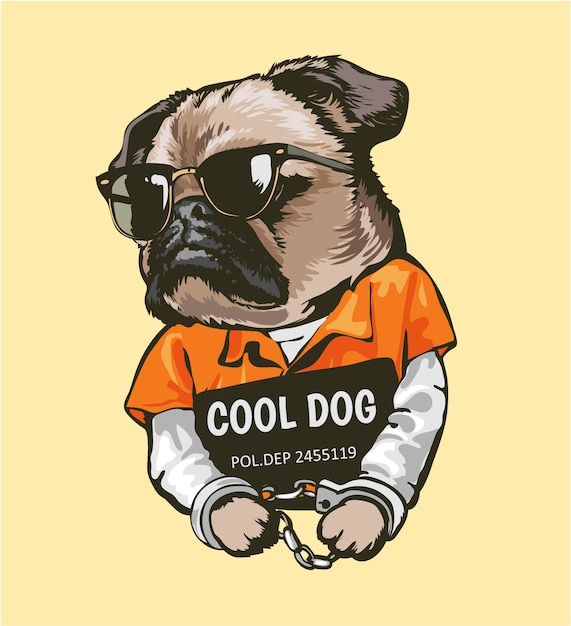 Cartoon pug dog in prisoner costume with sign illustration Premium Vector