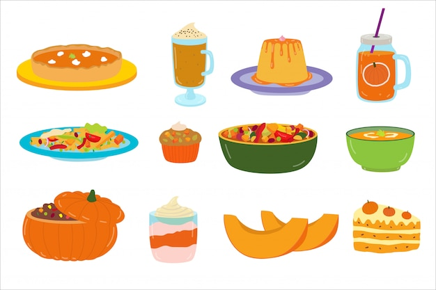 Мультяшный тыквы еда, десерт, иллюстрации, набор наклеек на белом, вкусная тыква еда и напитки. Premium векторы