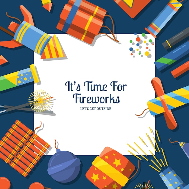 Cartoon pyrotechnics  background with place for text in center Premium Vector